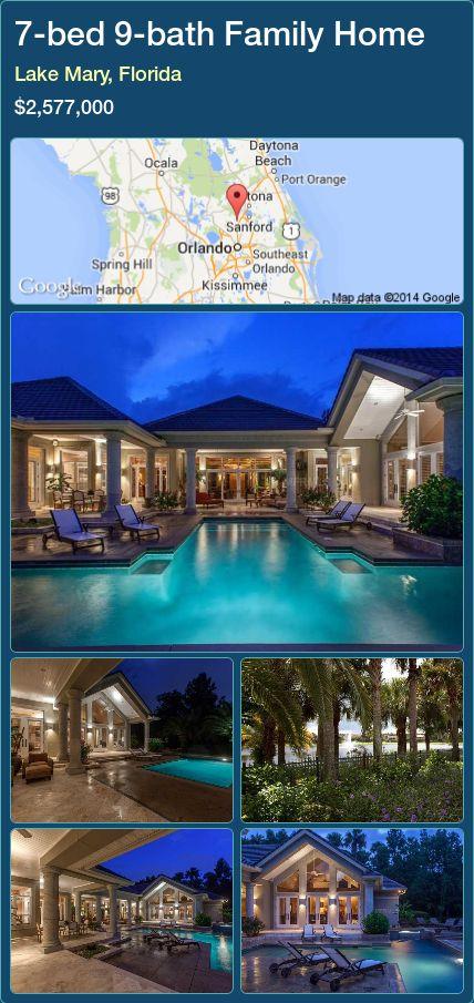 7-bed 9-bath Family Home in Lake Mary, Florida ►$2,577,000 #PropertyForSaleFlorida http://florida-magic.com/properties/38901-family-home-for-sale-in-lake-mary-florida-with-7-bedroom-9-bathroom