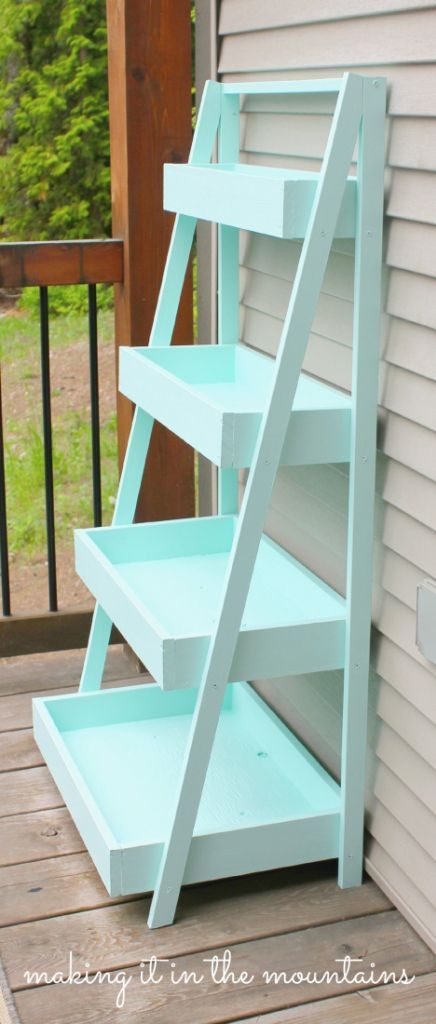 Beautiful DIY Ladder Shelf tutorial by Making it in the Mountains: