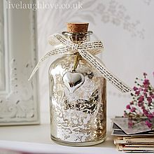 Antique Silver Glass Bottle with Script Ribbon and Heart