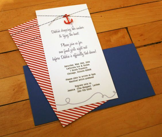 Fourth & Folded: Nautical Chic Bachelorette Invitations