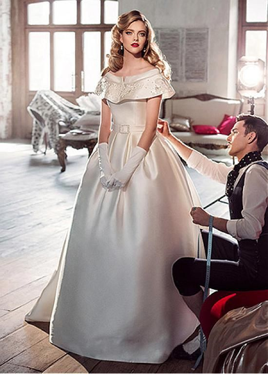 Charming Satin Off-the-shoulder Neckline Ball Gown Wedding Dresses With Beaded Lace Appliques
