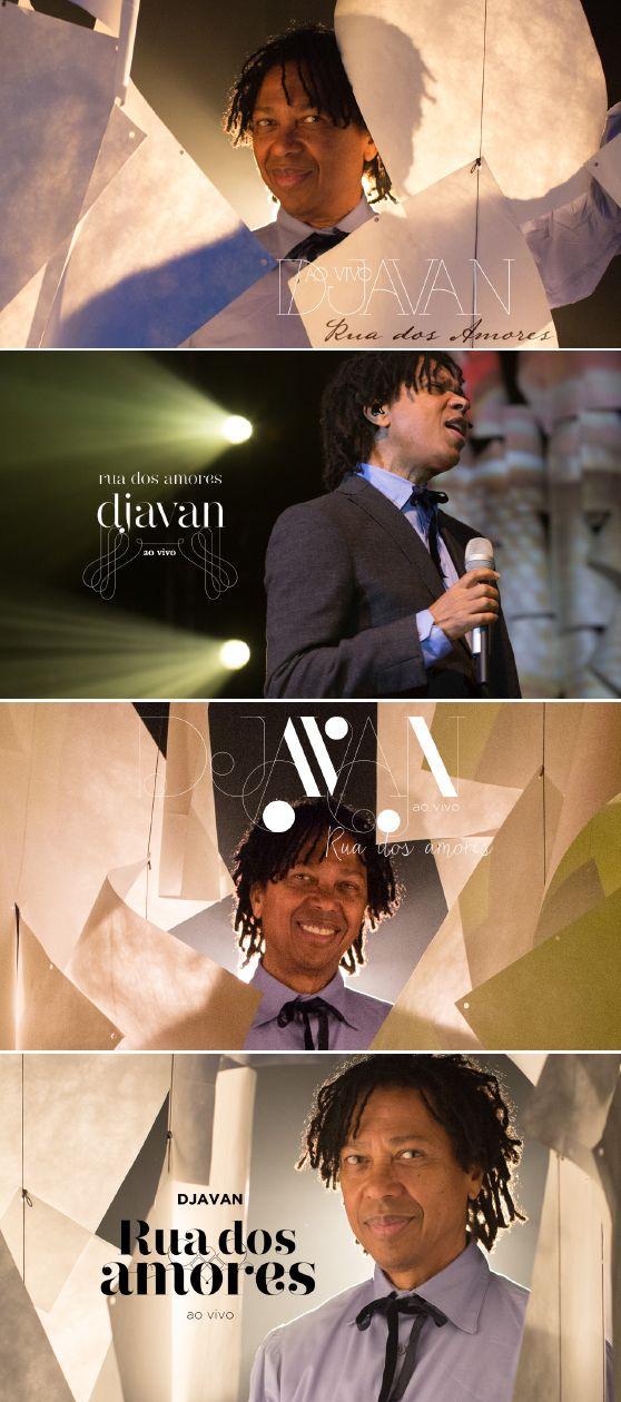Diferentes opções de tipografia e imagens para a capa do álbum Rua dos Amores, Djavan.