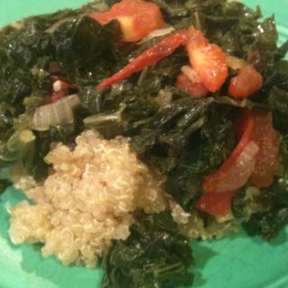 Dinner tonight: Kale & Tomato medley on a bed of Quinoa.