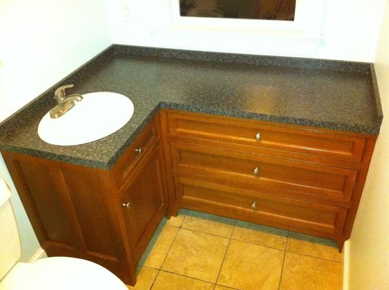 L shaped bathroom vanity custom made rift oak vanity for Bathroom l shaped vanities