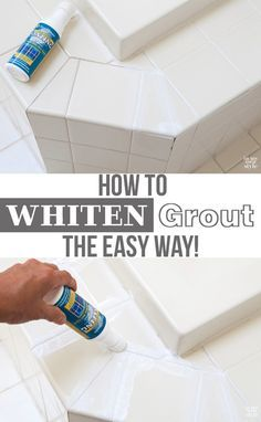 Home Improvement DIY: If your bathroom or kitchen tile grout is dingy and nothing gets it white you are going to love this grout  whitening product. It is a grout colorant that will have the tile grout white in no time. Fast and budget friendly way to makeover a bathroom or kitchen.