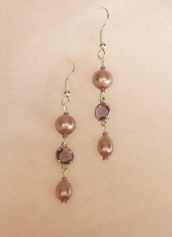Pearl and Lavender Crystal Earrings by HandmadeWLove478 on Etsy, $15.00