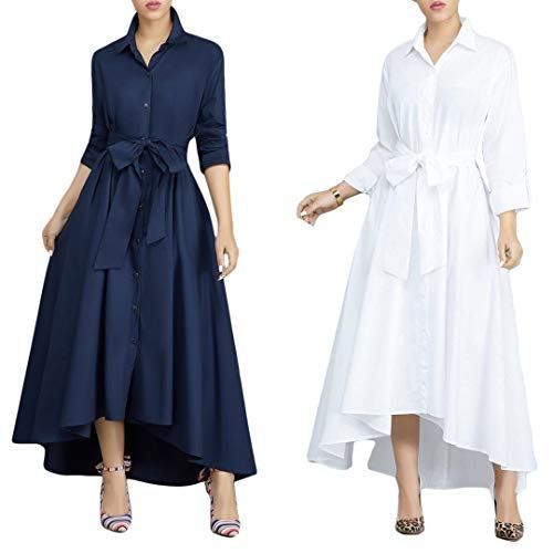 Playworld Women Elegant Long Maxi Dress Button Down Collar Belt T Shirt Dresses Pockets Maxi Dress Party Women Long Sleeve Dress Long Maxi Dress