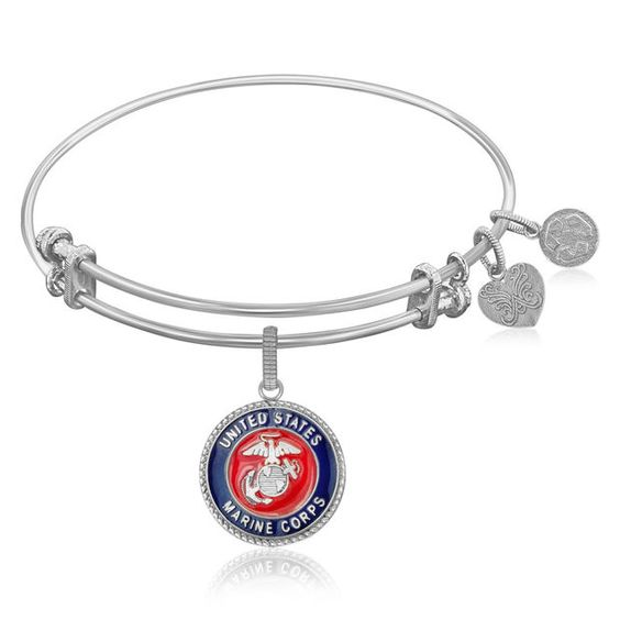 Expandable Bangle in White Tone Brass with U.S. Marine Corps Symbol
