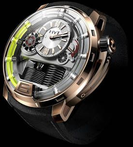 """Vincent Perriard & Co's HYT H1, """"a concept watch starting at $45000 that will debut at the Baselworld 2012 show. It uses liquid-driven pistons as well as gears to tell the time."""""""