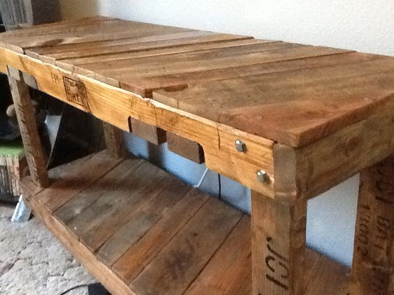 Fish tank stand made out of pallets and stained and oiled for Pallet aquarium stand
