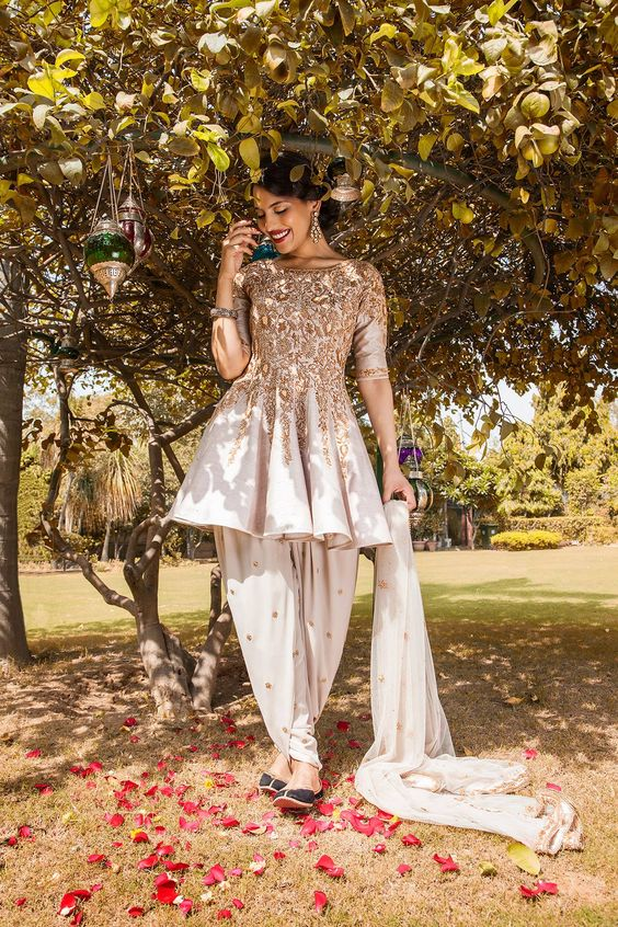 Indian Party Wear Shalwar Kameez Off white Dress