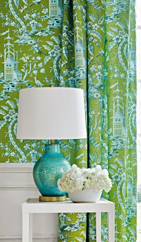 Green turquoise chinoiserie don 39 t forget the matching - Green and turquoise curtains ...