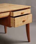 Hand-cut dovetailed drawers on a custom writing desk