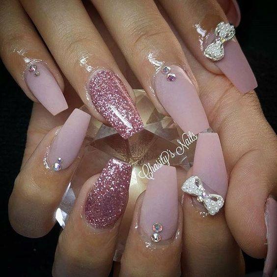 Coffin Nail Art 2017 Glitter Pink Sparkles Rhinestones Diamonds Jewels Gems Pink Acrylic Nails Valentines Nails Pink Nails