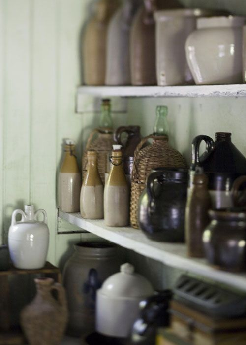 Pottery, someday I'll throw clay and have  shelves that look something like this...