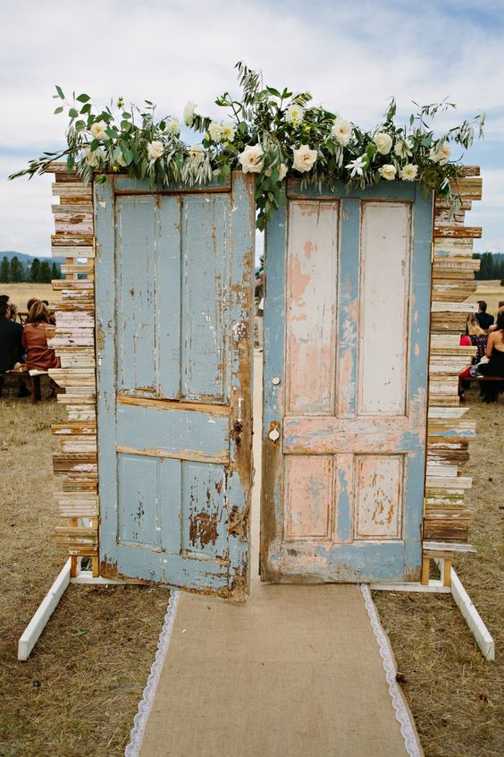 Outdoor ceremony door #decor Photography: Green Door Photography - www.greendoorphotography.com/ Read More: http://www.stylemepretty.com/2014/08/18/greenough-montana-wedding-by-habitat-events/: