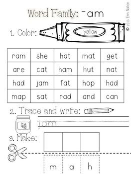 Worksheets Am Family Worksheets am word family printable worksheets words work and math worksheet families on pinterest worksheets