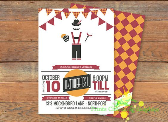 Oktoberfest Invitation, German, Beer, Brats, lederhosen, Party, Invitation, Prints Charming, Etsy, Download, Printable