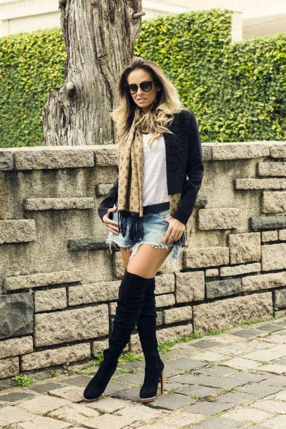 Botas hig knee + shorts jeans