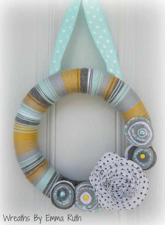 Fun Party Gray, MustardYellow, & Light Blue Yarn Wreath with Polka Dot Flower. via Etsy.
