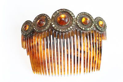 Antique-Victorian-Faux-Tortoise-Hair-Comb-w-Amber-Glass-Stones-Rhinestones-TLC