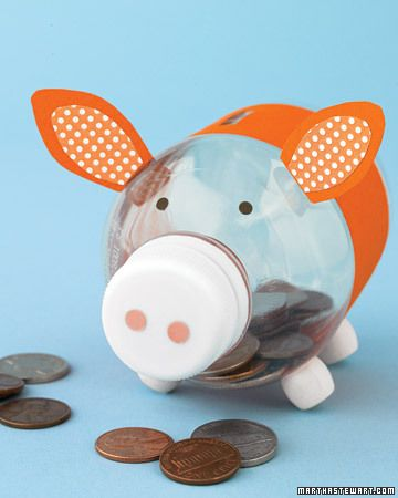 Piggy Bottle Bank  This little piggy (bank) started off at the market as a bleach bottle, but now it serves as a container for kids' pocket change.  Get the How-To