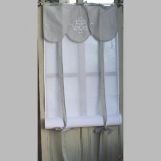 brise bise store coton blanc et gris d co cosy 80x160 cm 29 10 rideaux pinterest d co et ps. Black Bedroom Furniture Sets. Home Design Ideas