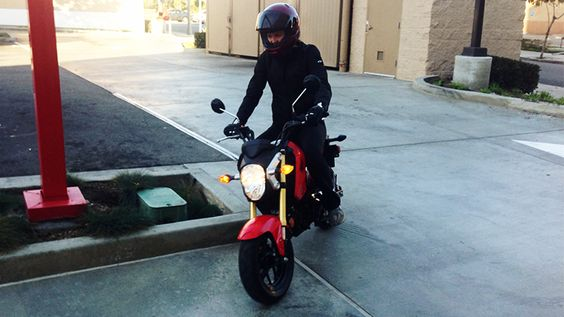 Lara on the 2014 Honda Grom in the parkiing