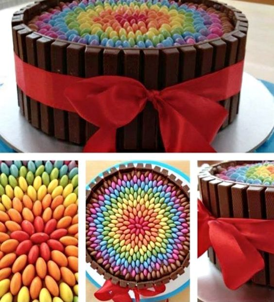 another take on the kitkat cake - this time with rainbow smarties.  Looks super!
