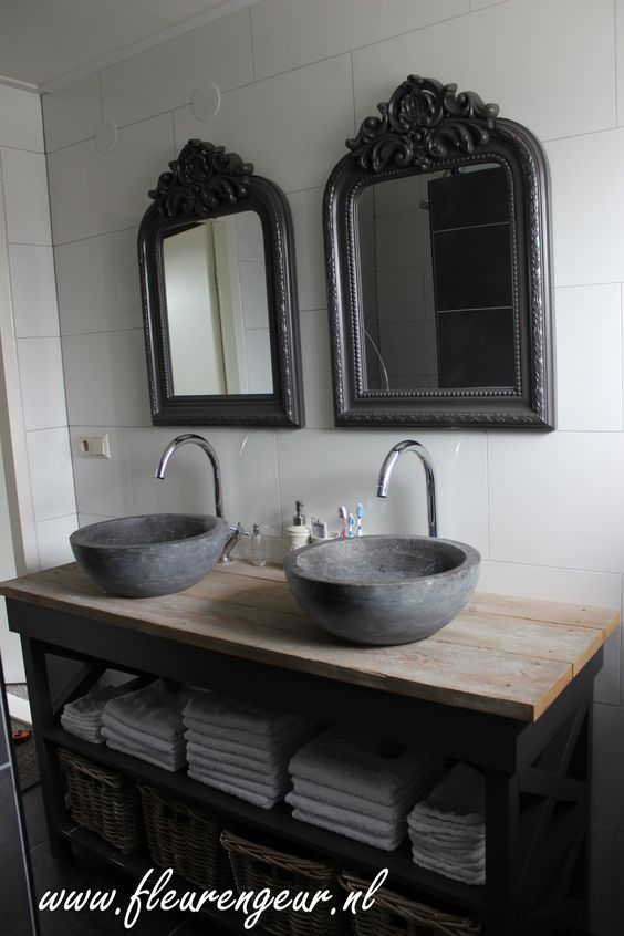 Landelijk badkamermeubel landelijk brocante stijl pinterest badkamer inspiratie - Badkamermeubels oude stijl ...