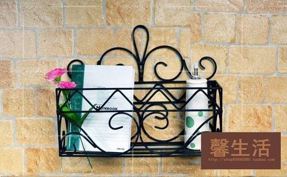Barato Decorativa prateleiras do banheiro de Rack de parede de ferro artesanato decoração de ferro de 3 cores, Compro Qualidade Conjunto de banheiro diretamente de fornecedores da China:  Peso: 1,2 kg  Tamanho: 47*17*57 CM  Material: ferro forjado  Cor: branco, preto e bronze antigo  Força de r