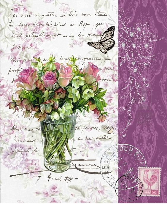 Bouquet with roses in clear vase with butterfly, stamp and postmarks on French handwriting.: