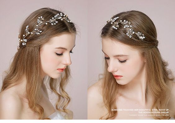 Diadema perla oro, diadema nupcial, diadema Floral, diadema de novia, novia vid…