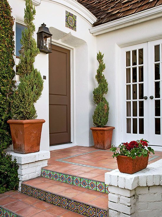 12 ways to enhance your front entry beautiful front for Front door steps ideas