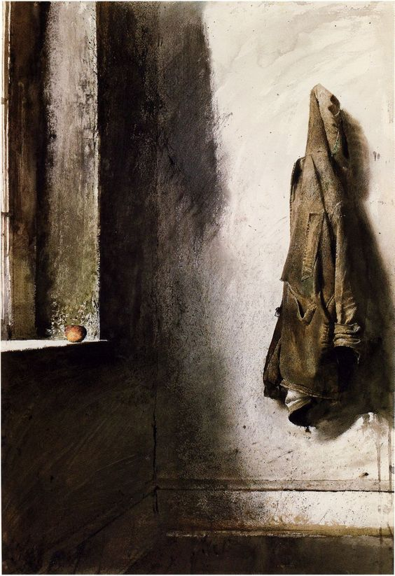 Andrew Wyeth The tiny and unassuming apple on the sill is the secret element that makes this stubborn-walled room with its hagardly worn jacket come to a kinder element of humanism.  K.W.