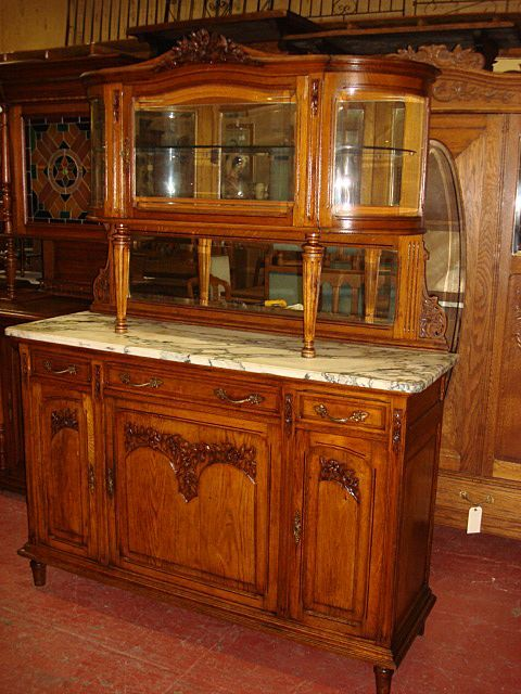 French Antique Carved Marble Top Buffet Sideboard Hutch Cabinet Server