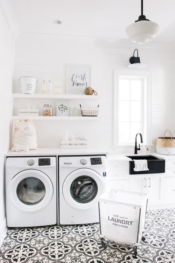 Laundry Room Features A Freestanding Stainless Steel Dual Utility Sink Paired With A Pull Out Faucet Laundry Room Design Laundry Room Remodel Laundry Room Sink
