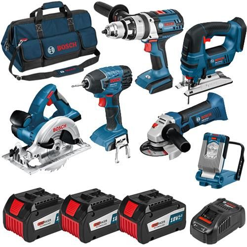 Click To Enlarge Bosch 6 Piece 18v Robustseries Tool Kit With Three 6 3ah Eneracer Batteries Bosch Tools Bosch Cordless Tools