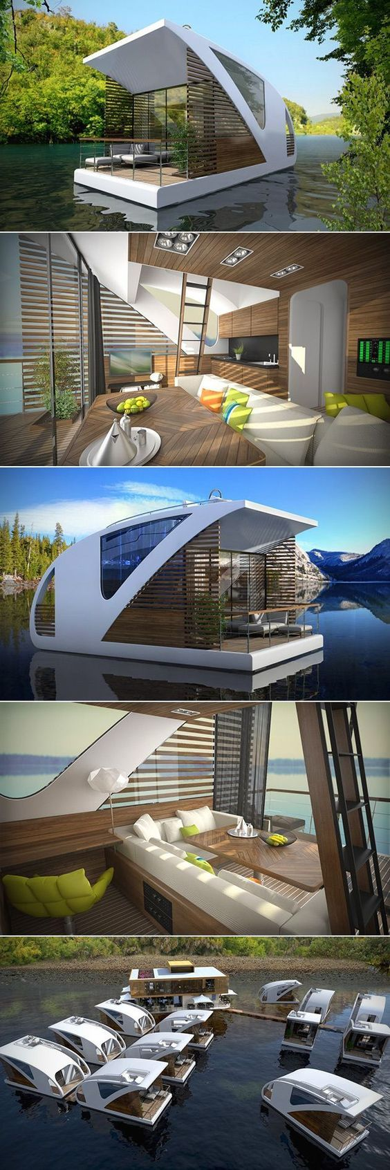 This new Floating Hotel with Catamaran Apartments aims at promoting low-impact tourism on inland waters. Consisting of small, floating catamarans, the floating hotel is a perfect solution for tourism without harming the natural environment.: