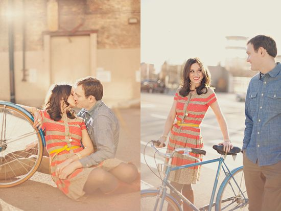 #engagement photos. we love the sassy outfit, and the bicycle!
