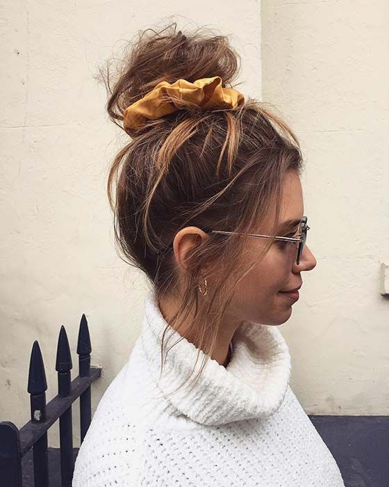 21 Cute And Easy Messy Bun Hairstyles Page 2 Of 2 Stayglam Hair Styles Scrunchie Hairstyles Messy Bun Hairstyles