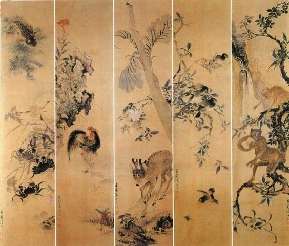 (Korea) Folding screen with Crabs, Cock, Deer, Monkey by Jang Seung-eop (1843-1897). colors on paper.