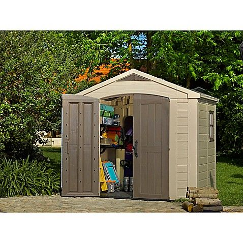 Keter Factor 8 Foot X 6 Foot Storage Shed In Beige Garden Storage Shed Plastic Storage Sheds Outdoor Storage Sheds