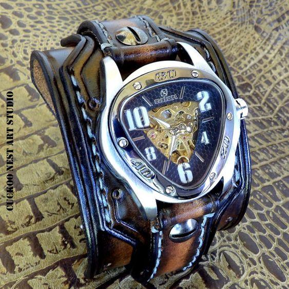 Skeleton Leather Watch, Aged brown watch cuff, Men's watch, Leather Wrist Watch, Steampunk Leather Cuff, Bracelet Watch, Dad's Gift,
