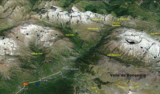 Mapa del Valle de Benasque, Pirineos de Huesca