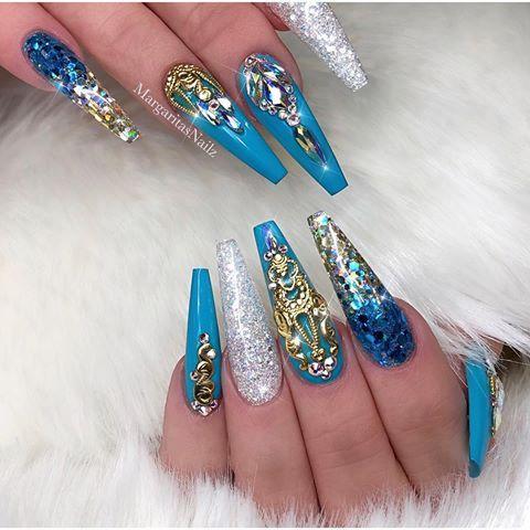 Tiffany Blue And Gold Long Coffin Nails Glitter Ombre Nail Art Design Spring Nails Nails Coffinnails Nailart M Luxury Nails Tiffany Blue Nails Bling Nails