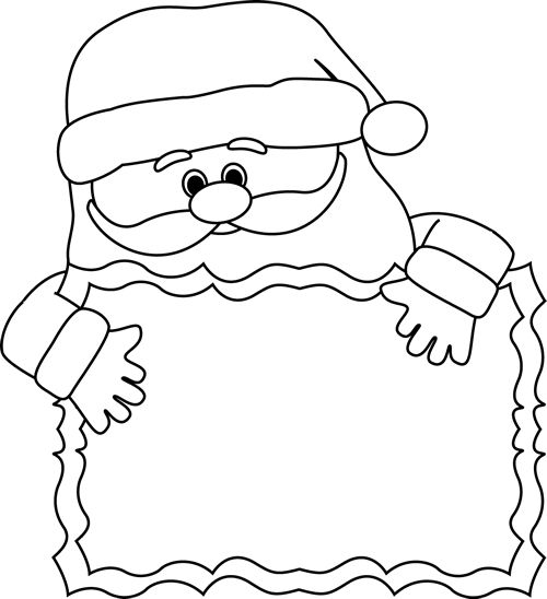 Clip Art Santa Clipart Black And White clip art black and white santa sign and