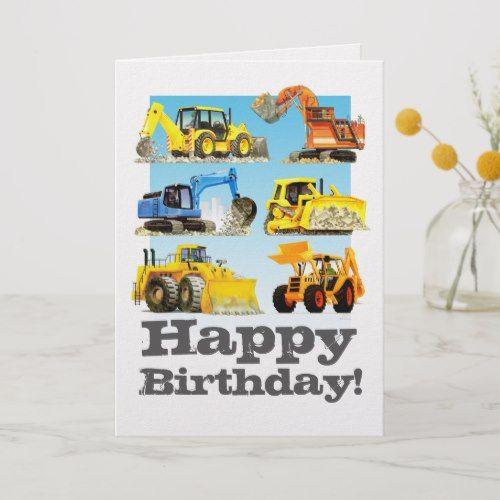 Kids Custom Yellow Digger Excavator Happy Birthday Card Zazzle Com Happy Birthday Cards Kids Birthday Party Invitations Birthday Cards