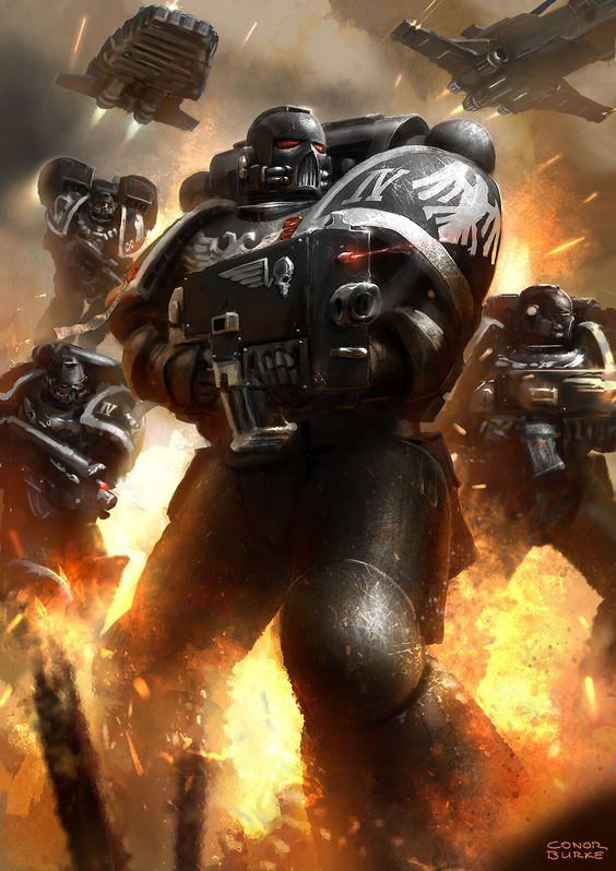 """cyberclays:  Raven Guard Strike Force - Warhammer 40,000 fan art by Conor Burke""""After some suggestions, I had to give the space marine some friends…!""""Previous version on my tumblr [here]"""