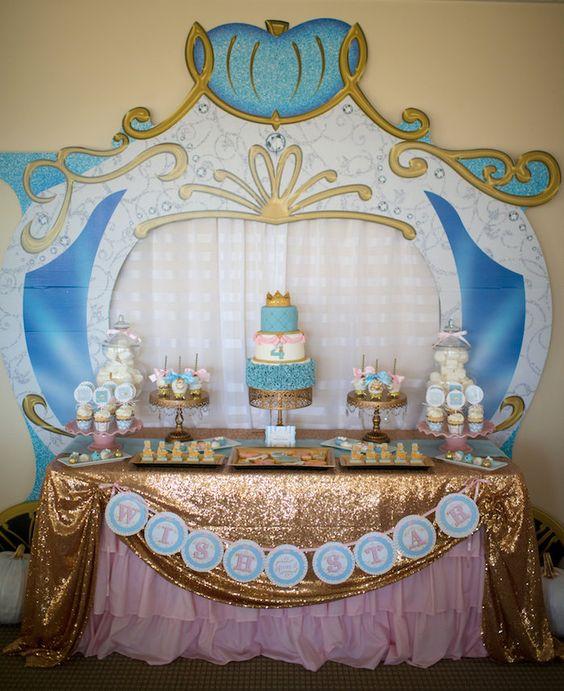 Dessert Table From A Princess Cinderella Themed Birthday